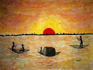 Sun Set In The River