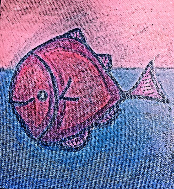 Pinkish Blue Fish - The African Arts Centre