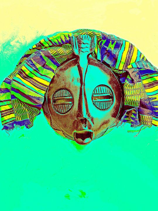 Green and Yellow Mask - The African Arts Centre