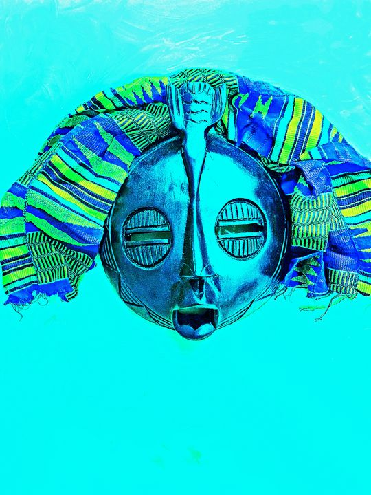 Day Blue Mask - The African Arts Centre