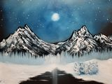 Starry night mountain scene