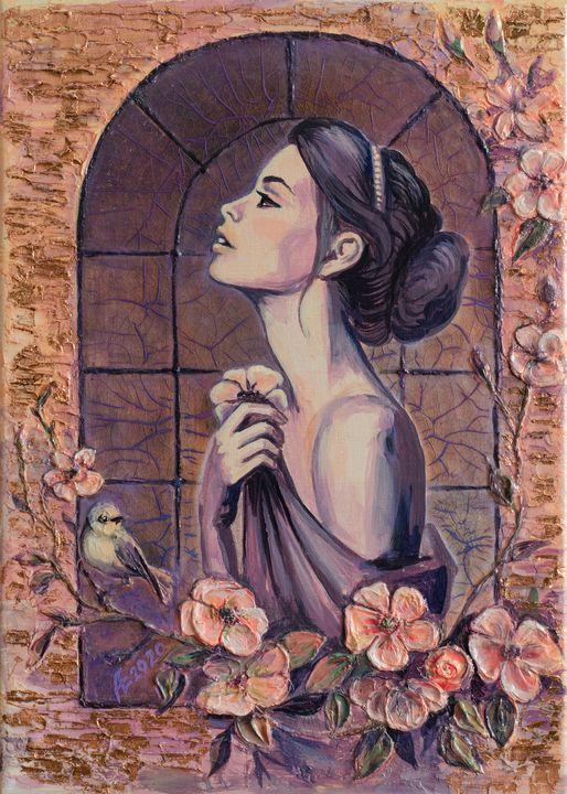 Girl with a birdie - Energy ART