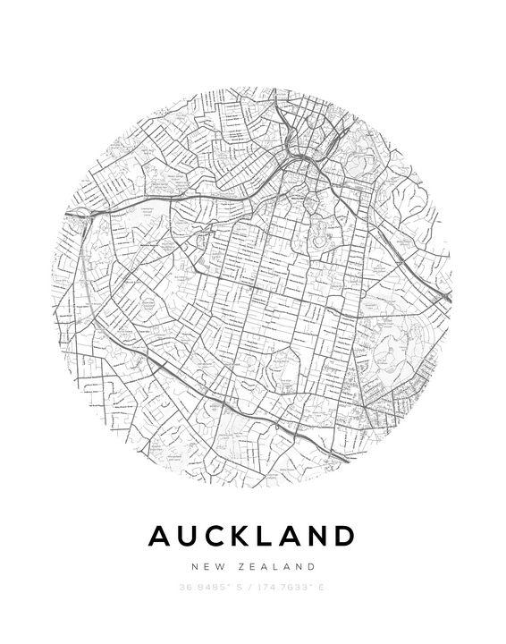 Auckland City Map Circle Wall Print - BabaHub