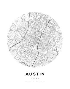 Austin City Map Circle Wall Print