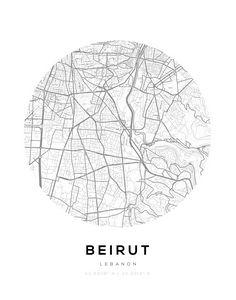 Beirut City Map Circle Wall Print