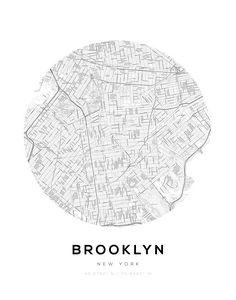 Brooklyn City Map Circle Wall Print