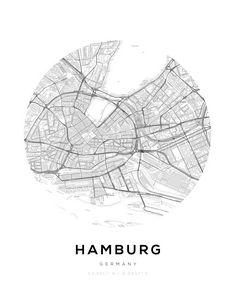 Hamburg City Map Circle Wall Print