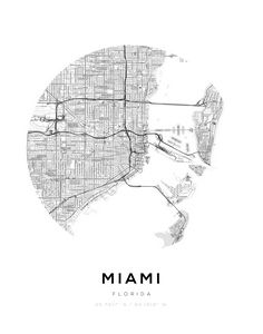 Miami City Map Circle Wall Print
