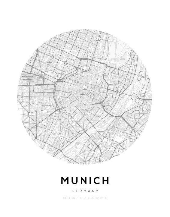 Munich City Map Circle Wall Print - BabaHub