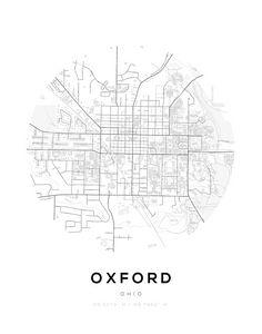 Oxford City Map Circle Wall Print