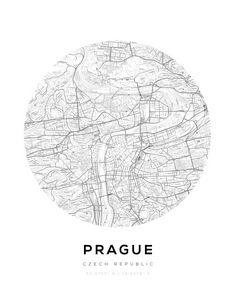 Prague City Map Circle Wall Print