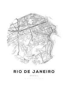 Rio De Janeiro City Map Wall Print