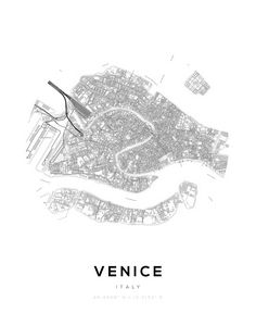 Venice City Map Circle Wall Print