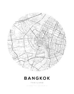 Bangkok City Map Circle Wall Print