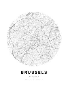 Brussels City Map Circle Wall Print