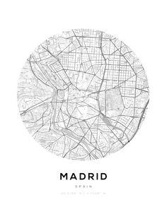 Madrid City Map Circle Wall Print