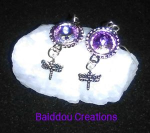 Purple Dragon Fly Earring