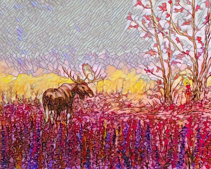 One Last Look Back Stain Glass Image - Gerard Dourado's Watercolours and Sketches