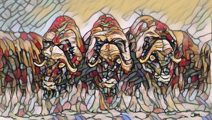 The Muskox Wall Stain Glass Image - Gerard Dourado's Watercolours and Sketches