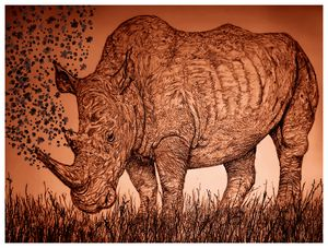 Rhino at Dusk - Gerard Dourado's Watercolours and Sketches