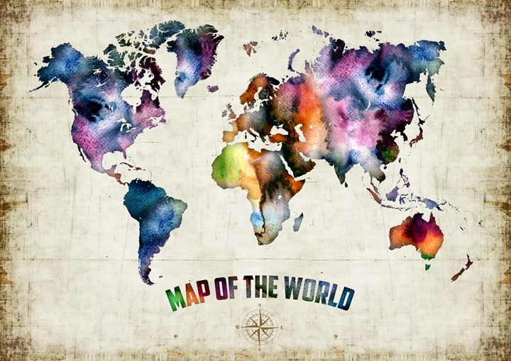 Watercolor art print 'World Map' - Artollo - wall art, giclee art prints and posters