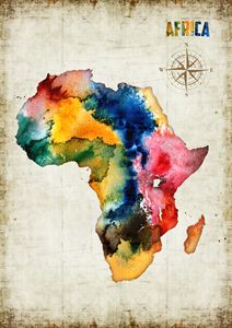 Watercolor print ''Africa map'