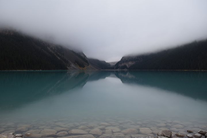 Lake Louise in the fog - Dog Traynor