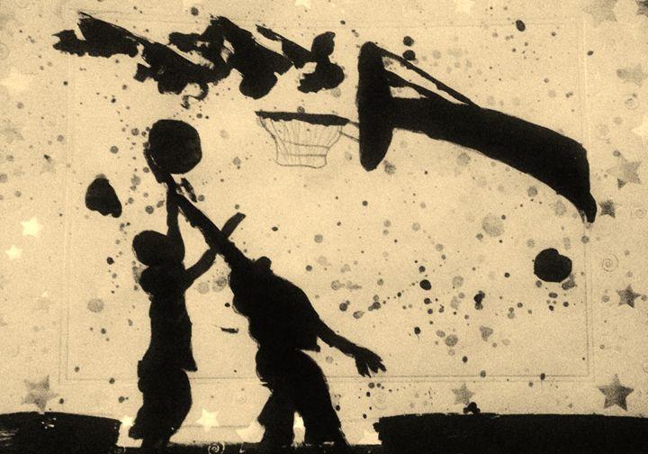 Spring Basketball fun Silhouette - LOVE Art Wonders (NickysArt)