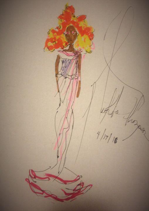 Orange Hair Love Fire STYLISH ART GI - LOVE Art Wonders (NickysArt)