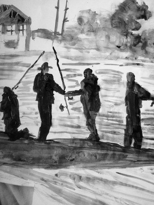 Fishing by the Lake (far back) - LOVE Art Wonders (NickysArt)