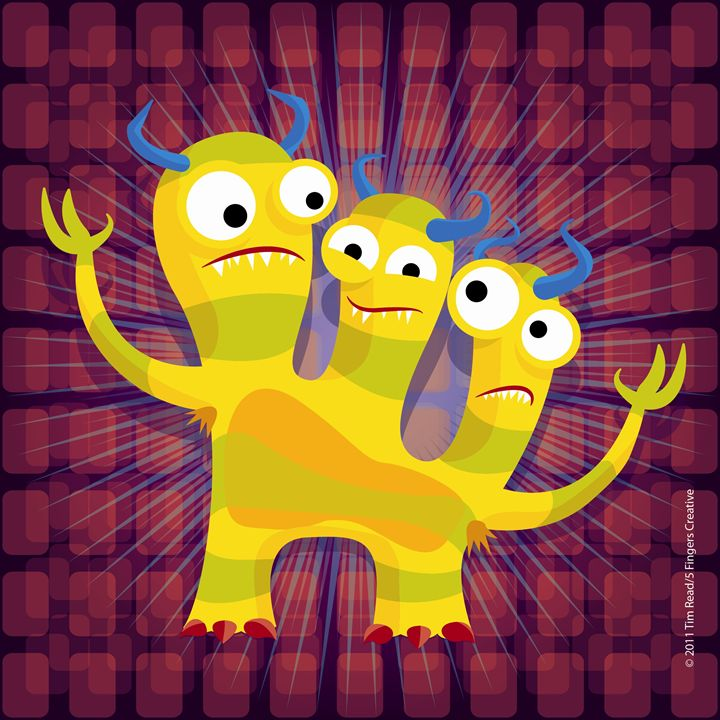 Three headed silly monster - 5 Fingers Creative