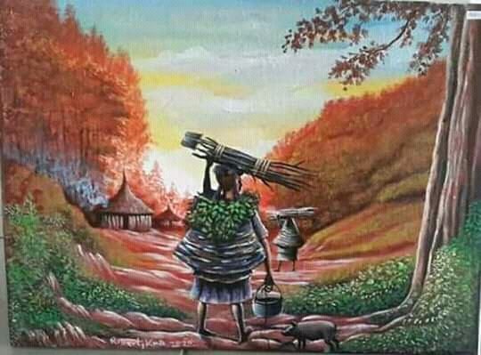 Mother's Coming Back from Gardening - New Guinea Art