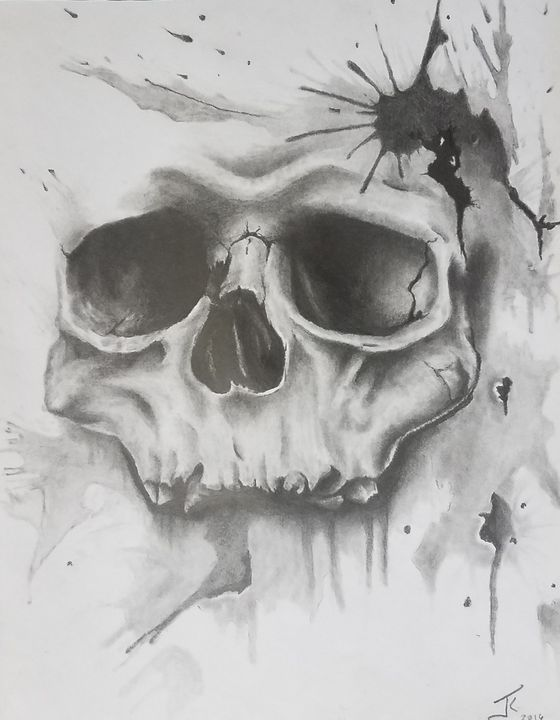 Splatter skull - modernartistjosh_kelleyart