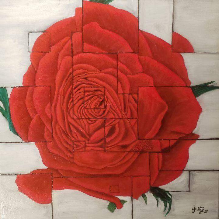 Red rose collage - modernartistjosh_kelleyart