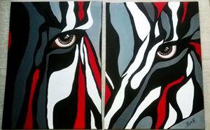 modern zebra painting