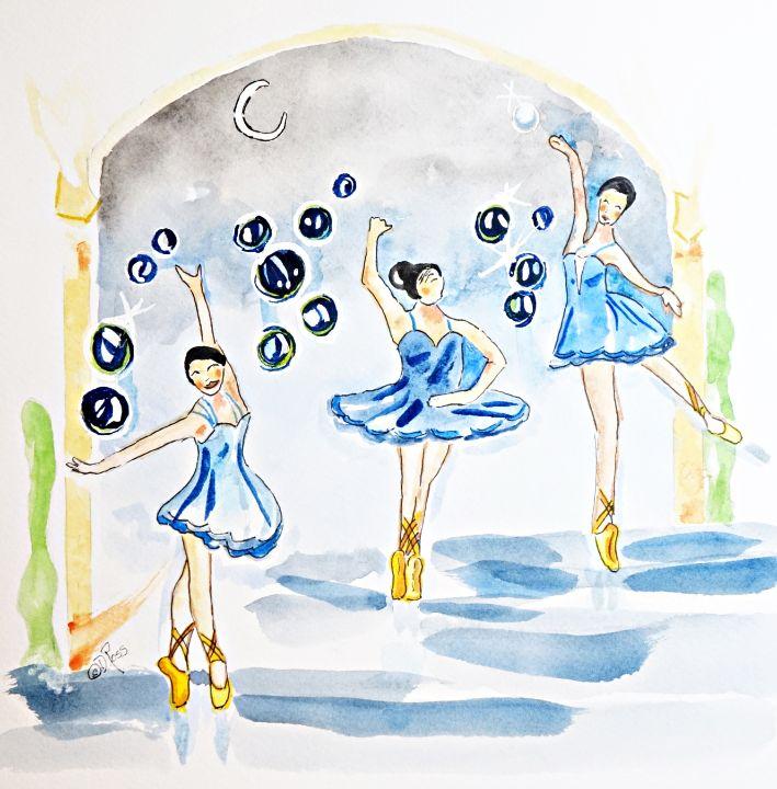Ballerinas in Blue - Whimsical Watercolor Paintings