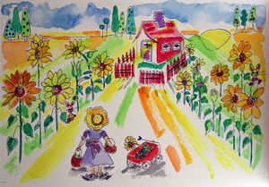 Little girl with red wagon - Whimsical Watercolor Paintings & Photography