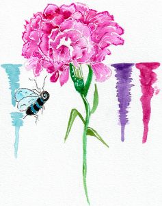 Carnation with Honey Bee - Whimsical Watercolor Paintings