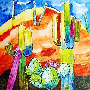 Mt. Cacti - Whimsical Watercolor Paintings