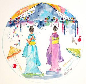 Two Geisha woman viewing Mt. Fuji - Whimsical Watercolor Paintings & Photography