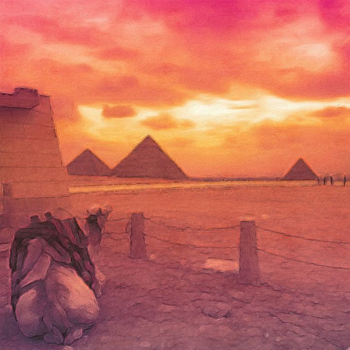 Camel looking at the Great Pyramids - Empire State Studios NYC