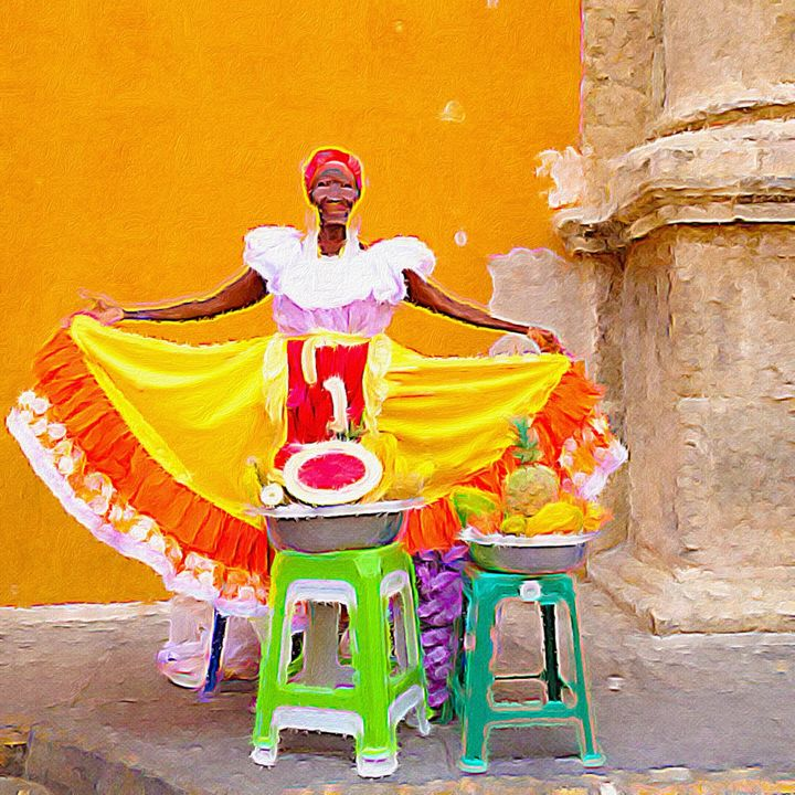 Fruit seller in Cartagena, Colombia - Empire State Studios NYC