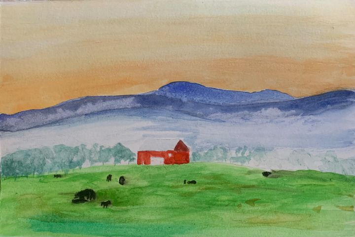 Misty Morning Calves in the Valley - Andy's Art