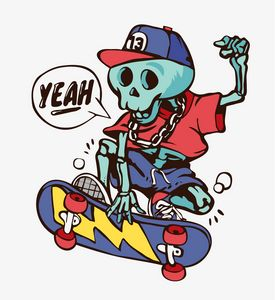 skateboarding blue skeleton