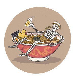 skeleton chilling