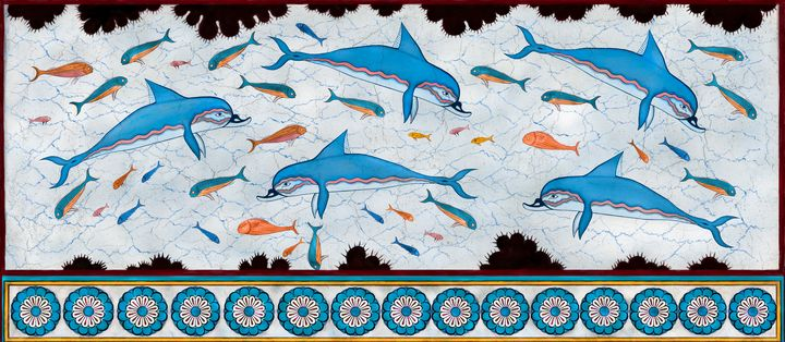 Dolphin fresco - minoan masterpiece - papaigraphics