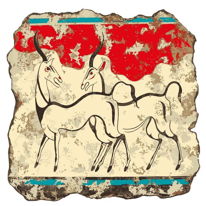 Antelopes fresco - Akrotiri - papaigraphics