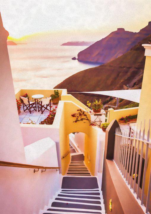 Santorini - soft colourful lights - papaigraphics