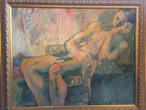 Nude Man in Chair by Jane Brown