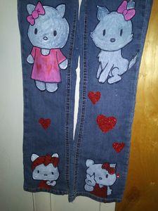 Hello kitty handpainted pants - Funk it UP designs